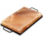 Himalaya zoutsteen grill inclusief metalen houder 20x30 x3,2 cm en weegt 5 kilo. Voor thuis of op de camping